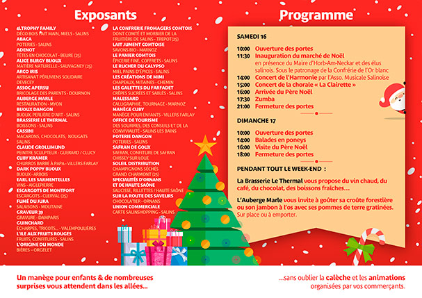 2017 - Quinzaine de Noël - Programme du Marché de Noël